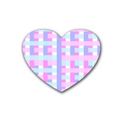 Gingham Nursery Baby Blue Pink Heart Coaster (4 Pack)  by BangZart