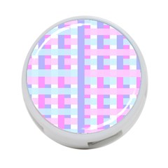 Gingham Nursery Baby Blue Pink 4 Port Usb Hub (two Sides)