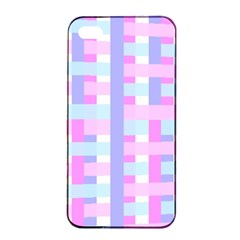 Gingham Nursery Baby Blue Pink Apple Iphone 4/4s Seamless Case (black)
