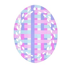 Gingham Nursery Baby Blue Pink Ornament (oval Filigree)