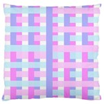 Gingham Nursery Baby Blue Pink Large Cushion Case (One Side) Front