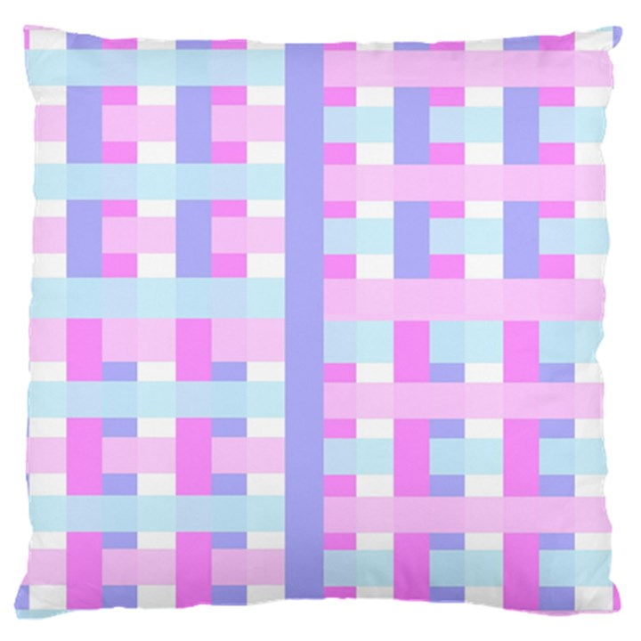 Gingham Nursery Baby Blue Pink Large Cushion Case (One Side)