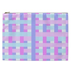 Gingham Nursery Baby Blue Pink Cosmetic Bag (xxl)
