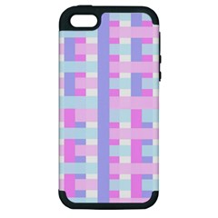 Gingham Nursery Baby Blue Pink Apple Iphone 5 Hardshell Case (pc+silicone) by BangZart