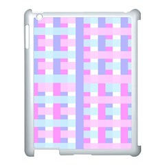 Gingham Nursery Baby Blue Pink Apple Ipad 3/4 Case (white)