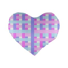Gingham Nursery Baby Blue Pink Standard 16  Premium Flano Heart Shape Cushions