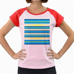 Stripes Yellow Aqua Blue White Women s Cap Sleeve T Shirt by BangZart