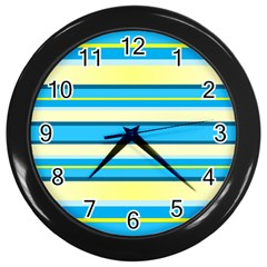 Stripes Yellow Aqua Blue White Wall Clocks (black) by BangZart