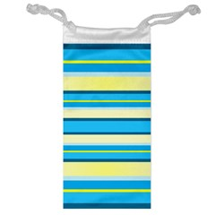 Stripes Yellow Aqua Blue White Jewelry Bag