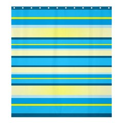 Stripes Yellow Aqua Blue White Shower Curtain 66  X 72  (large)