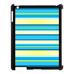 Stripes Yellow Aqua Blue White Apple Ipad 3/4 Case (black)