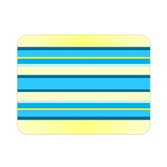 Stripes Yellow Aqua Blue White Double Sided Flano Blanket (mini)