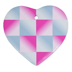 Gradient Blue Pink Geometric Ornament (heart) by BangZart