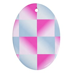 Gradient Blue Pink Geometric Oval Ornament (two Sides) by BangZart