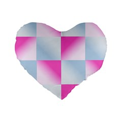 Gradient Blue Pink Geometric Standard 16  Premium Heart Shape Cushions by BangZart