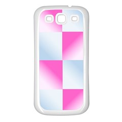 Gradient Blue Pink Geometric Samsung Galaxy S3 Back Case (white)