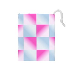 Gradient Blue Pink Geometric Drawstring Pouches (medium)  by BangZart