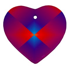 Geometric Blue Violet Red Gradient Ornament (heart) by BangZart