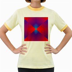 Geometric Blue Violet Red Gradient Women s Fitted Ringer T Shirts