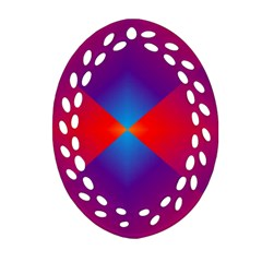 Geometric Blue Violet Red Gradient Oval Filigree Ornament (two Sides)