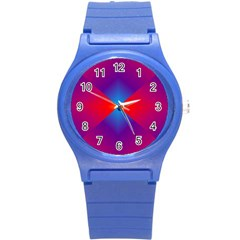 Geometric Blue Violet Red Gradient Round Plastic Sport Watch (s) by BangZart