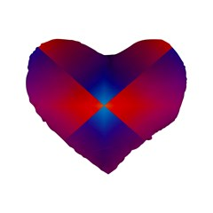 Geometric Blue Violet Red Gradient Standard 16  Premium Heart Shape Cushions by BangZart