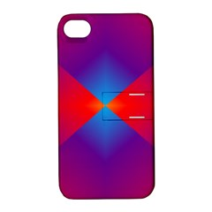 Geometric Blue Violet Red Gradient Apple Iphone 4/4s Hardshell Case With Stand
