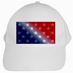 America Patriotic Red White Blue White Cap by BangZart