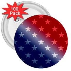 America Patriotic Red White Blue 3  Buttons (100 Pack)