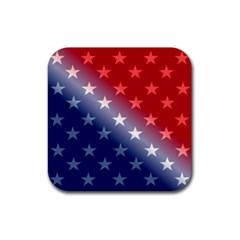 America Patriotic Red White Blue Rubber Square Coaster (4 Pack)  by BangZart