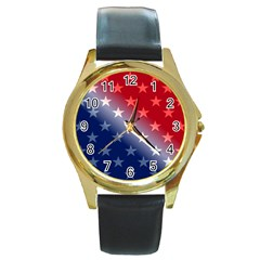 America Patriotic Red White Blue Round Gold Metal Watch
