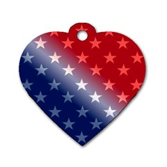 America Patriotic Red White Blue Dog Tag Heart (two Sides)