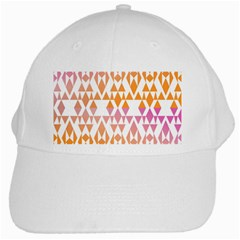 Geometric Abstract Orange Purple White Cap by BangZart