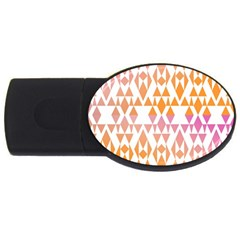 Geometric Abstract Orange Purple Usb Flash Drive Oval (2 Gb)