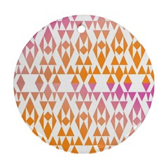 Geometric Abstract Orange Purple Round Ornament (two Sides) by BangZart