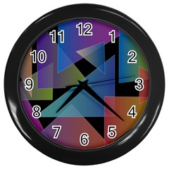 Triangle Gradient Abstract Geometry Wall Clocks (black) by BangZart
