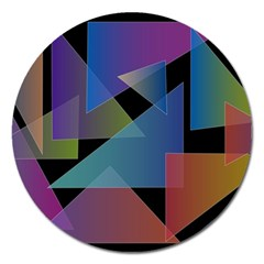 Triangle Gradient Abstract Geometry Magnet 5  (round) by BangZart