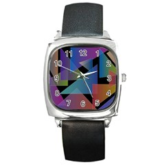 Triangle Gradient Abstract Geometry Square Metal Watch by BangZart