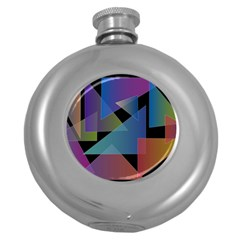 Triangle Gradient Abstract Geometry Round Hip Flask (5 Oz) by BangZart