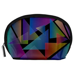 Triangle Gradient Abstract Geometry Accessory Pouches (large)  by BangZart