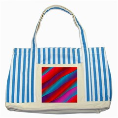 Diagonal Gradient Vivid Color 3d Striped Blue Tote Bag by BangZart