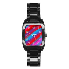 Diagonal Gradient Vivid Color 3d Stainless Steel Barrel Watch by BangZart