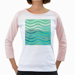 Abstract Digital Waves Background Girly Raglans