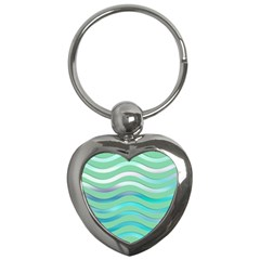 Abstract Digital Waves Background Key Chains (heart)  by BangZart