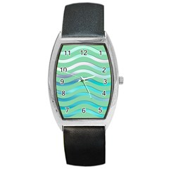Abstract Digital Waves Background Barrel Style Metal Watch by BangZart