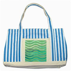 Abstract Digital Waves Background Striped Blue Tote Bag