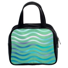 Abstract Digital Waves Background Classic Handbags (2 Sides) by BangZart