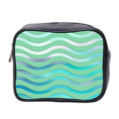 Abstract Digital Waves Background Mini Toiletries Bag 2 Side