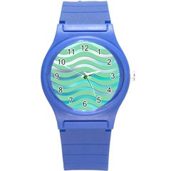 Abstract Digital Waves Background Round Plastic Sport Watch (s)