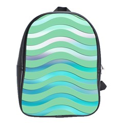 Abstract Digital Waves Background School Bag (xl)
